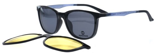 Ladies' black frame and temples with double clipon