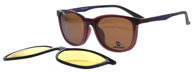 Ladies' brown frame and temples with double clipon
