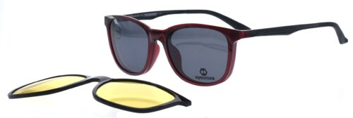 Ladies' wine red frame and temples with double clipon