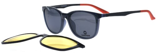 Ladies' crystal grey frame and temples with orange temple tips. Double clipon