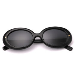 Black, acetate, bold frame and temples with smoke grey polarized lenses