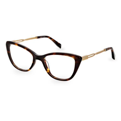Acetate optical frame in brown tartaruga color, with assorted color temple tips and special chain design metallic temples
