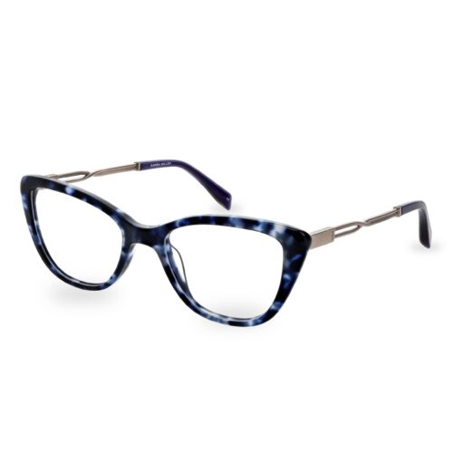 Acetate optical frame in blue tartaruga color, with assorted blue color temple tips and special chain design metallic temples