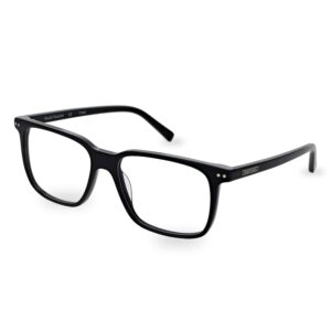 Men's, black acetate optical frame and temples with a discreet contrasting ST logo and decorative pins on the front