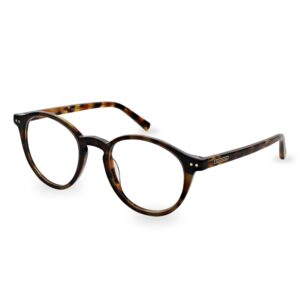 A brown tartaruga acetate optical frame and temples with a discreet contrasting ST logo and decorative pins on the front