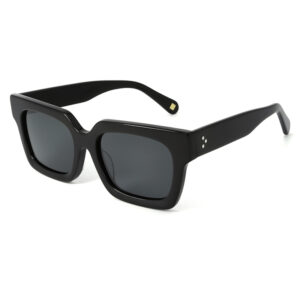 Oversized, black, acetate frame and temples with smoke grey color polarized lenses