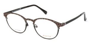 Lady's, black metallic full frame and temples, combined with leopard pattern and black acetate temple tips