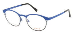 Lady's, bright blue metallic full frame and temples, combined with zebra pattern and black acetate temple tips