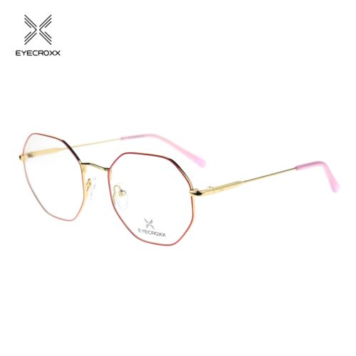 Unisex bi-color gold & red metallic frame with pink acetate temple tips
