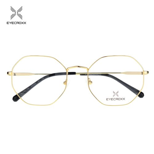 Unisex gold tone metallic frame and temples with black acetate temple tips