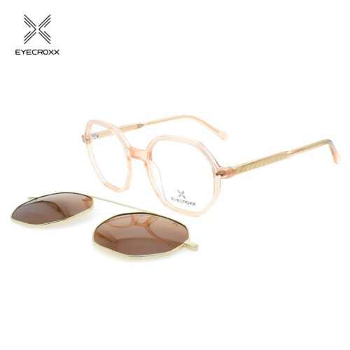Acetate crystal brown frame with assorted color transparent acetate temples. Gold metallic clip on with brown polarized lenses