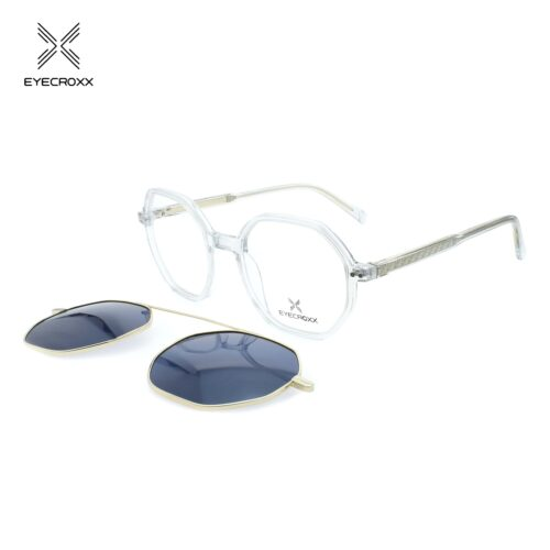 Acetate crystal grey frame with assorted color transparent acetate temples. Gold metallic clip on with blue polarized lenses