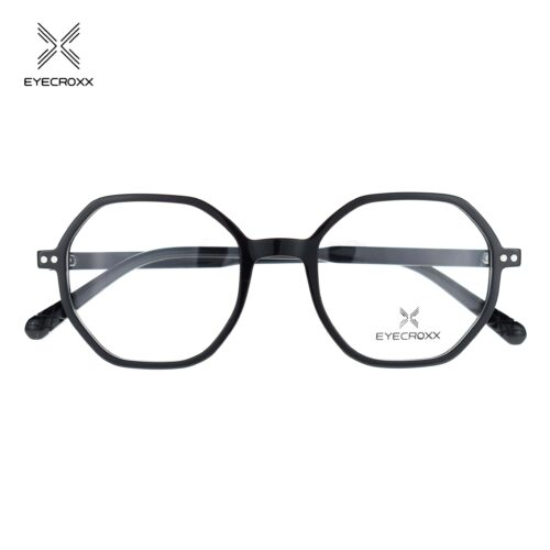 Unisex acetate black frame with crystal transparent acetate temples. Gold tone metallic clip on with smoke grey polarized lenses