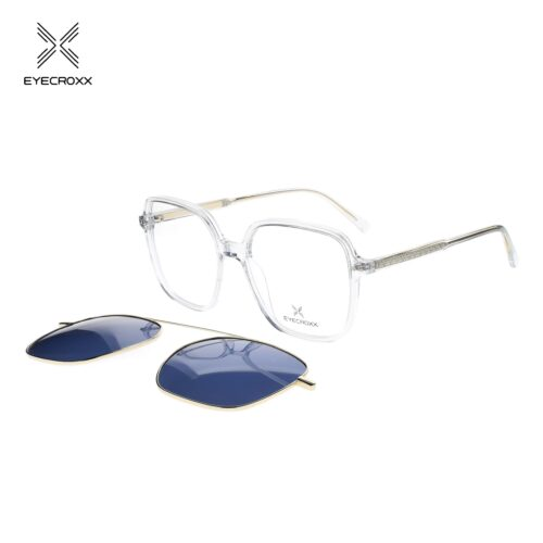 Unisex acetate crystal grey frame with assorted color transparent acetate temples. Gold tone metallic clip on with blue polarized lenses