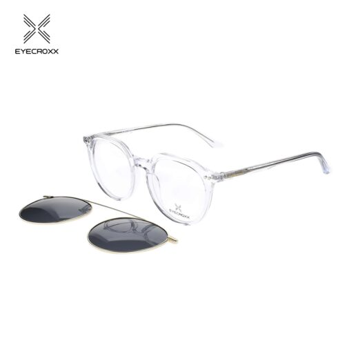 Unisex acetate crystal transparent frame and temples. Gold tone metallic clip on with smoke grey polarized lenses