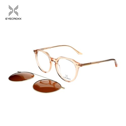 Acetate crystal light brown frame with assorted color transparent acetate temples. Gold tone metallic clip on with brown polarized lens