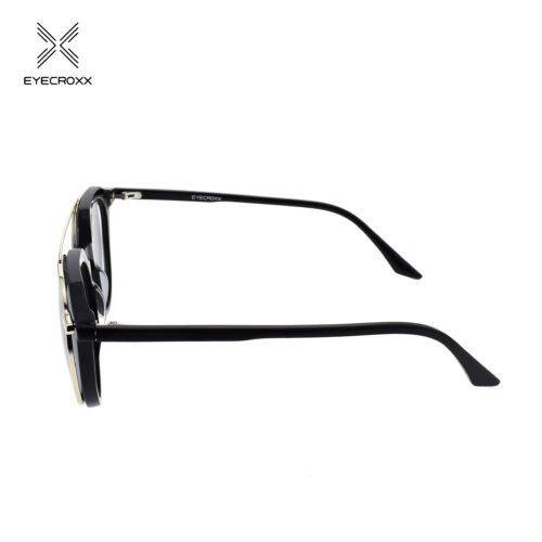 Unisex acetate black frame and temples. Gold tone metallic clip on with smoke grey polarized lenses