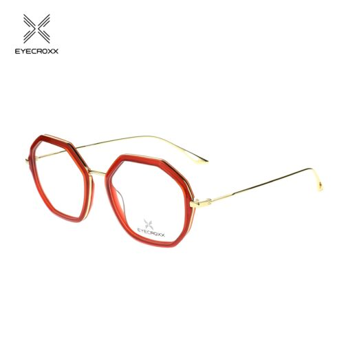 Lady's, bi-color, gold metal combined with red acetate frame