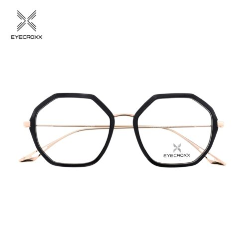 Lady's, bi-color, gold metal combined with black acetate frame