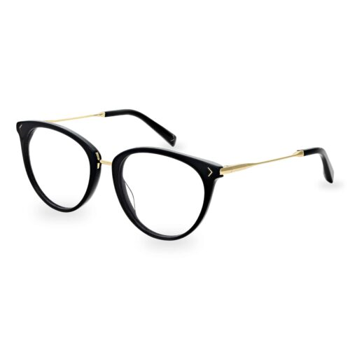 Black acetate optical frame and temple tips, with gold metallic bridge and temples