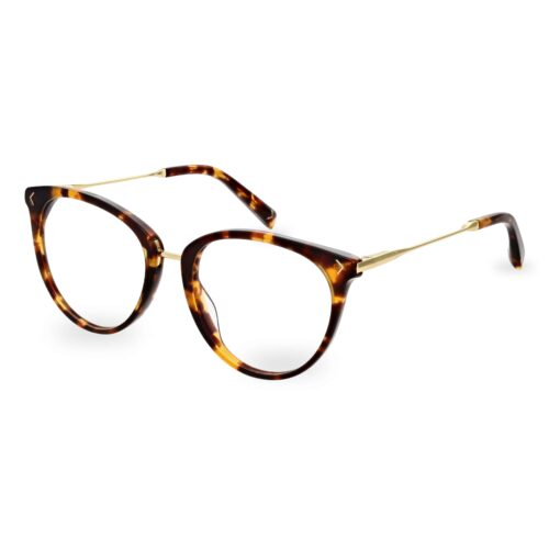 Acetate optical frame and temple tips in brown tartaruga color, with gold metallic bridge and temples