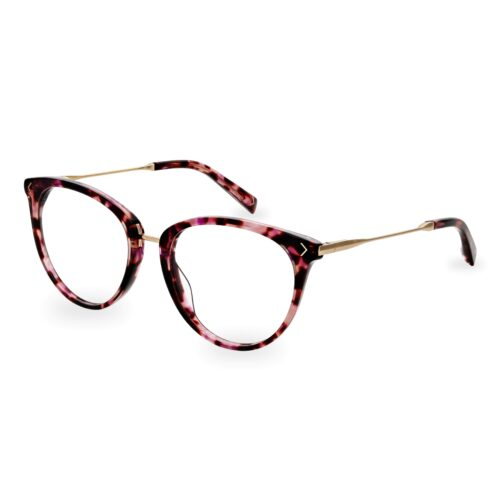 Acetate optical frame and temple tips in dark pink tartaruga color, with gold metallic bridge and temples
