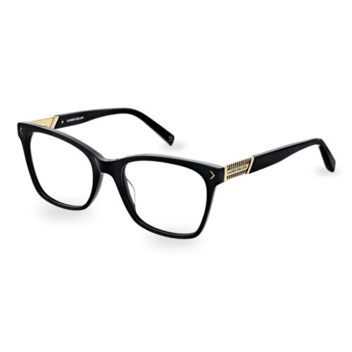 Black acetate optical frame, with gold chain logo detail on the temples