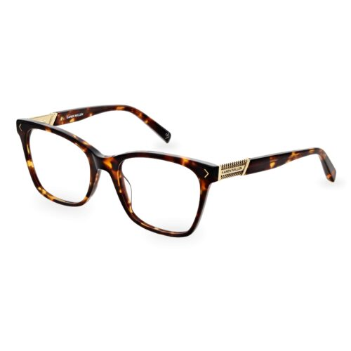 Acetate optical frame in brown tartaruga color, with gold chain logo detail on the temples
