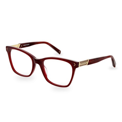Burgundy acetate optical frame, with gold chain logo detail on the temples