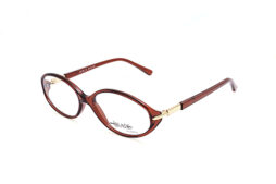 Brown frame with matching color temples and gold decoration on the hinge